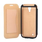 Book Case Ancus for Samsung i9505/i9500 Galaxy S4/Vodafone Smart 4 Orange - Beige