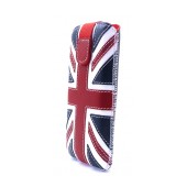 Case Protect Ancus UK Flag for Apple iPhone SE/5/5S/5C Leather Navy with White Stitching