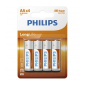 Battery Super Heavy Duty Philips Long Life LR6 size AA 1.5 V Psc. 4