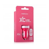 Momax XC Car Charger with output 5V 2100 mAh USB Port Pink