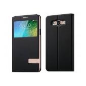 Book Case S-View Usams  Muge Series for Samsung SM-E700F Galaxy E7 Black