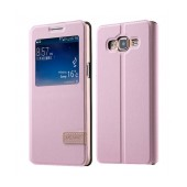 Book S-View Usams Muge Series for Samsung SM-E500 Galaxy E5 Pink