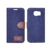 Book Case Ancus Teneo Fabric for Samsung SM-G920F Galaxy S6 Dark Blue