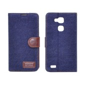 Book Case Ancus Teneo Fabric for Huawei Ascend Mate 7 Dark Blue