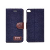 Book Case Ancus Teneo Fabric for Huawei Ascend P8 Dark Blue