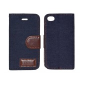 Book Case Ancus Teneo Fabric for Apple iPhone 4/4S Dark Blue