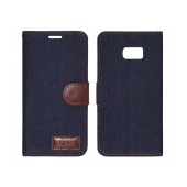 Book Case Ancus Teneo Fabric for Samsung SM-G928F Galaxy S6 Edge+ Dark Blue