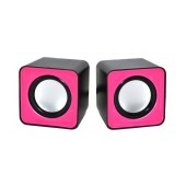Speaker Stereo Nakai F-C1 2.5Wx2 RMS Black - Pink with USB 6x6x5.5cm