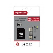 Flash Memory Card Gigastone MicroSDHC 32GB UHS-1 Class 10 Professional Series with SD Adapter + OTG Gigaston for MicroSD Memory Cards U102