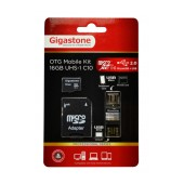 Flash Memory Card Gigastone MicroSDHC 16GB UHS-1 Class 10 Professional Series with SD Adapter + OTG Gigaston for MicroSD Memory Cards U102