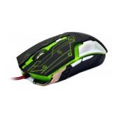 Wired Mouse R-horse RH-1990 Robocop Series with 5 Buttons and 3200 DPI Black - Green