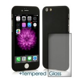 360 Protect Case Ancus for Apple iPhone 6/6S Black with Tempered Glass Screen Protector 0.20mm