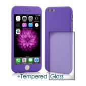 360 Protect Case Ancus for Apple iPhone 6/6S Purple with Tempered Glass 0.20mm