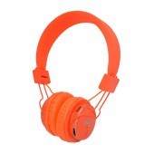 Headphone Stereo NIA Foldable MRH-8809S 3.5 mm Orange with FM Radio and MP3 Player with Micro SD MC