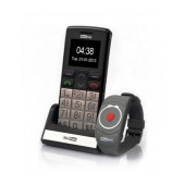 Maxcom MM715BB with Wireless SOS Wristband, Bluetooth, Large Buttons, FM Radio, Torch and Emergency Button Black-Silver