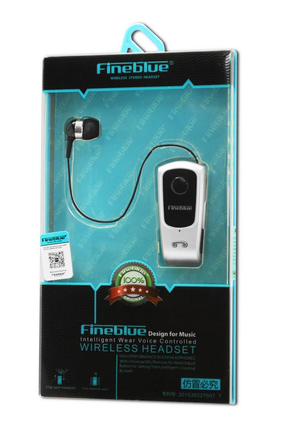 Bluetooth Hands Free Fineblue F920 Ασημί με Έκδοση Bluetooth 4.0, Επεκτεινόμενο Ακουστικό, Δόνηση, και Καλώδιο Φόρτισης