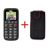 Maxcom MM428BB (Dual Sim) with Large Buttons, FM Radio (Works without Handsfree), Torch and Emergency Button Black + Case