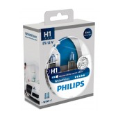 Headlight Bulb Philips H1 WhiteVision 12V, 55W, +60% More Vision + W5W x 2 Set 2 Pcs