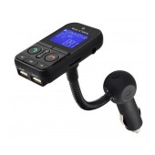 Bluetooth FM Transmitter SO-640C with Remote Control, Speakerphone, Audio-In and Two USB Ports (iOS 2.1A, Android 1.0A) Black