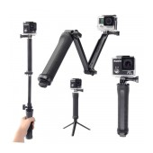 Selfie Stick Monopod 3-Way for GoPro and Photograph Machines Extendible Black (Closed 20cm, with Extention 62cm )