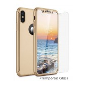 360 Protect Case Ancus for Apple iPhone X Gold with Tempered Glass Screen Protector 0.20mm