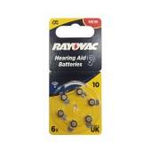 Hearing Aid Batteries Rayovac 10 Special PR70 1.45V Pcs. 6