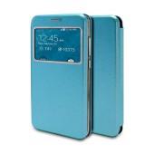 Book Case Ancus S-View Magnetic Curve for Samsung SM-J330F Galaxy J3 (2017) TPU Blue