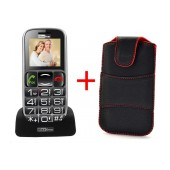 Maxcom MM462BB with Large Buttons, Bluetooth, Radio (Works without Handsfre), Torch, Camera and Emergency Button Black + Case