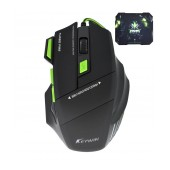 Wired Gaming Mouse Keywin 7D 7 Buttons 3200 DPI with Mousepad (27cmX24cm) Black - Green