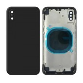 Middle Cover Frame and Battery Cover with Camera Lens and Outer Keys for Apple iPhone X Black