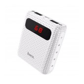 Power Bank Hoco B20 Mige 10000 mAh Fast Charging with 2 USB Ports, Flashlight LED Indicator White