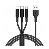 Data Cable Hoco X25 3 In 1 Fast Charging USB to Micro-USB, Lightning, Type-C Black 1m
