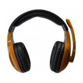Headphone Stereo KOMC Multimedia Headset A21 with Microphone and Double Connector 3.5 mm Black-Brown for Mobile Phones, Tablet and Electronic Devices