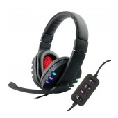 Headphone Stereo KOMC USB Flash KM-9700 with LED lights and Microphone with Lightful Buttons. USB Connection. Black