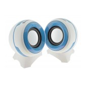 Multimedia Speaker Stereo Ezeey Q8 with 3.5mm jack and USB Charge, 3W x 2, White - Blue