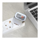 Travel Charger Hoco C40A Speedmaster Dual USB Fast Charging 5V/2.4A White