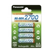 Rechargeable Battery Panasonic Ni-MH 2700 BK-3HGAE/4BE 2500 mAh size AA 1.2V Pcs 4