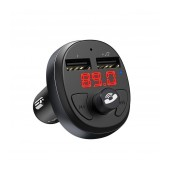Car Charger Hoco E41 with Wireless FM Transmitter and 2 USB Ports Black