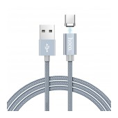 Data Cable Hoco U40A Magnetic USB to USB-C with magnetic plug Metal Gray 1m