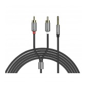 Audio Cable Hoco UPA10 2 RCA to 3.5mm Male Metal Gray 1.5m