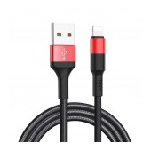 Data Cable Hoco X26 Xpress USB to Lightning Fast Charging Black - Red 1m