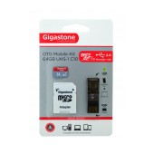 Flash Memory Card Gigastone MicroSDXC 64GB UHS-1 Class 10 Professional Series with SD Adapter + OTG Gigaston for MicroSD Memory Cards U102