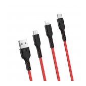 Data Cable Hoco U31 Benay 3 in 1 USB to Micro-USB, Lightning, USB-C Red 1.2m