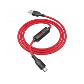 Data Cable Hoco S13 Central USB to Micro USB 2.4A Red 1.2m with charging display