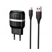Travel Charger Borofone BA24A Vigour Dual USB 5V/2.1A Black set with Micro USB cable and LED indicator