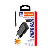 Travel Charger Ancus Supreme Series USB 5V / 2A with Data Cable Micro USB 1m Black