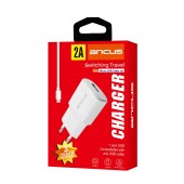 Travel Charger Ancus Supreme Series USB 5V / 2A with Data Cable Micro USB 1m White