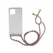 Case Ancus Crossbody for Apple iPhone 11 Pro Max Transparent with Pink-Brown Strap