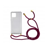 Case Ancus Crossbody for Apple iPhone 11 Pro Max Transparent with Bordeaux Strap