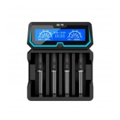 Industrial Type Battery Charger Xtar Χ4 USB, 4 Positions Fast Charge 2A with LCD Power Display for Batteries